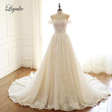Liyuke Embroidery Lace Scalloped Neck A-Line Wedding Dress  Short Sleeve Wedding Gown