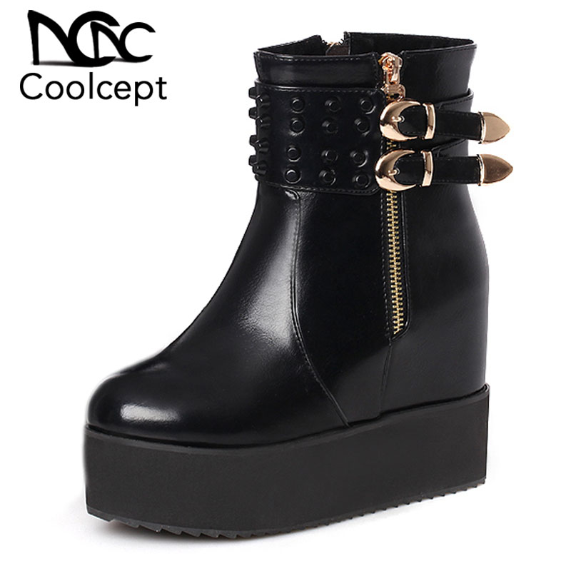 Coolcept Plus Size 30 47 Fashion Women High Wedges Boots Rivet Zipper Warm Fur Shoes Women
