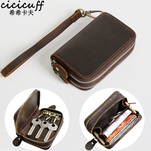 Image 1 - CICICUFF Genuine Leather Key Case Vintage Leather Car Key Wallets with 6 Key Holder Keys Organizer Housekeeper Pouch Men Large