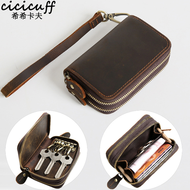 CICICUFF Genuine Leather Key Case Vintage Leather Car Key Wallets with 6 Key Holder Keys Organizer Housekeeper Pouch Men Large