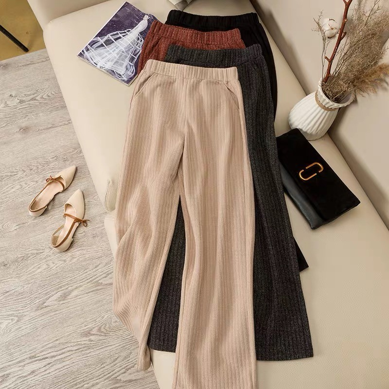 VRIGINER Ice Silk   Wide     Leg     Pants   Female High Waist Drape Thin Section Loose Wild Nine Points Knitted Casual   Pants   Retro