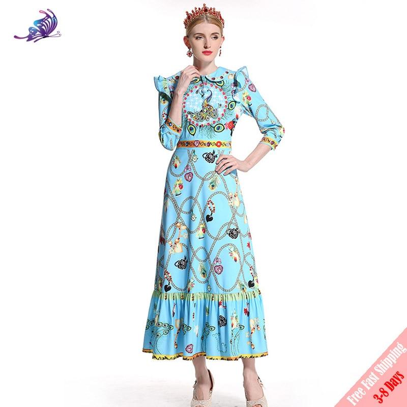 Fashion Runway Designer Maxi Long Dress 2018 New Peter Pan Collar Ruffles 3/4 Sleeve Women Printed Long Aline Dress Free DHL