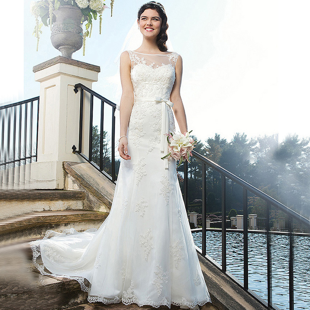 Korean Wedding Dress Off White Mermaid Bridal Gown Lace