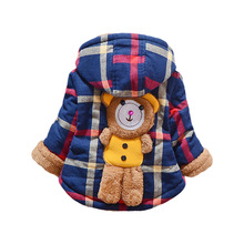 Baby Girls Boys Jackets Grid Bear Parkas Coats Winter Warm Children Outerwear Clothes Kids Thick Hoodies Jacket Clothing Q2042
