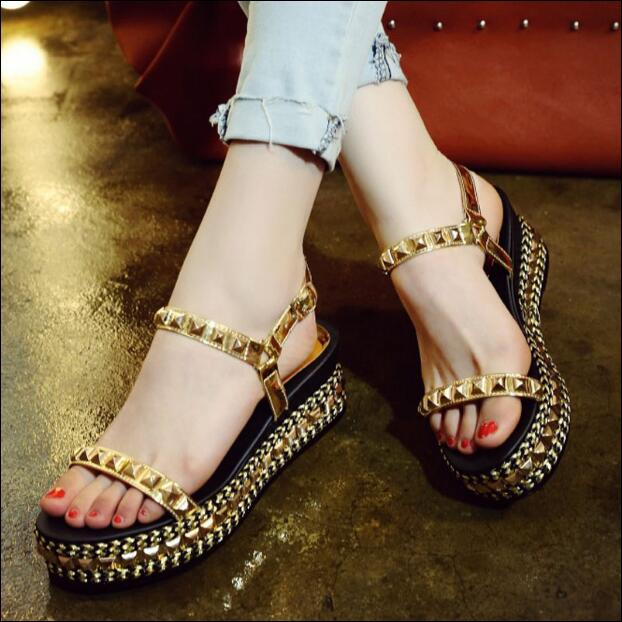 Famale fashion gold black shoes sandals for women open-toe slingbacks shoes rivet decoration high platform wedge sandals women new fashion women high platform wedge sandals open toe buckle strappy gold rivet sandals ladies casual and party shoes sandals
