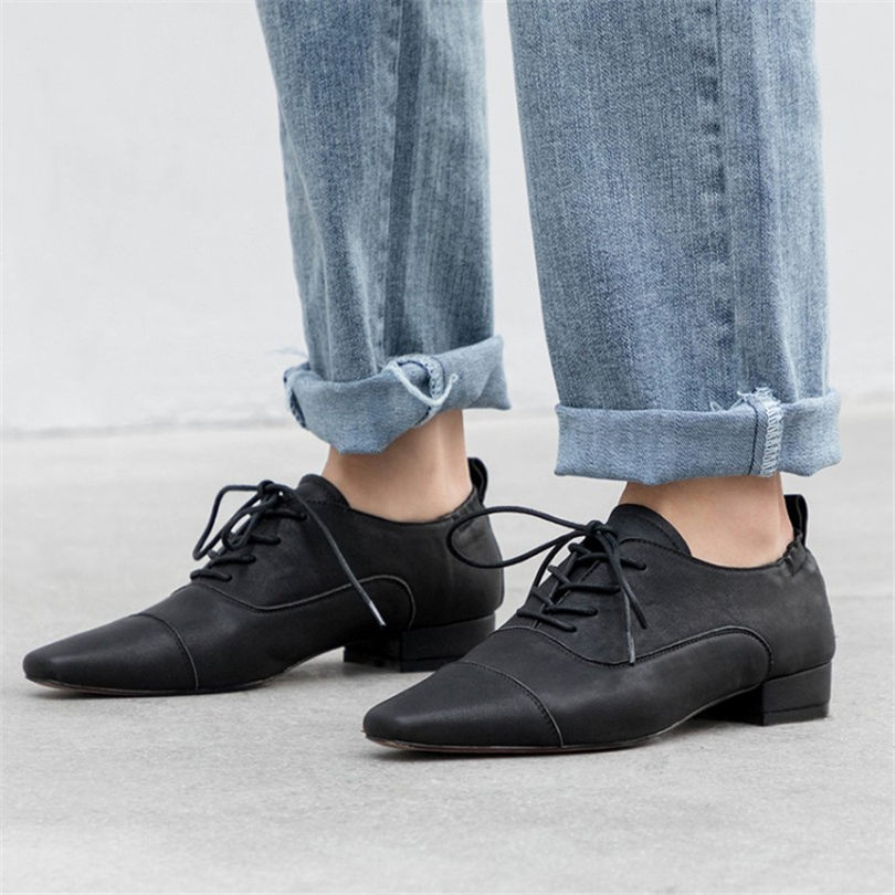 35fbfef6f8e0b NAYIDUYUN 2019 Women Shoes Genuine Leather Low Heel Party Pumps Lace Up  Square Toe Oxfords Shallow