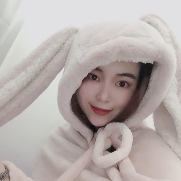 Cute Pink Comfy Blanket Sweatshirt Winter Warm Adults and Children Rabbit Ear Hooded Fleece Blanket Sleepwear Huge Bed Blankets 77