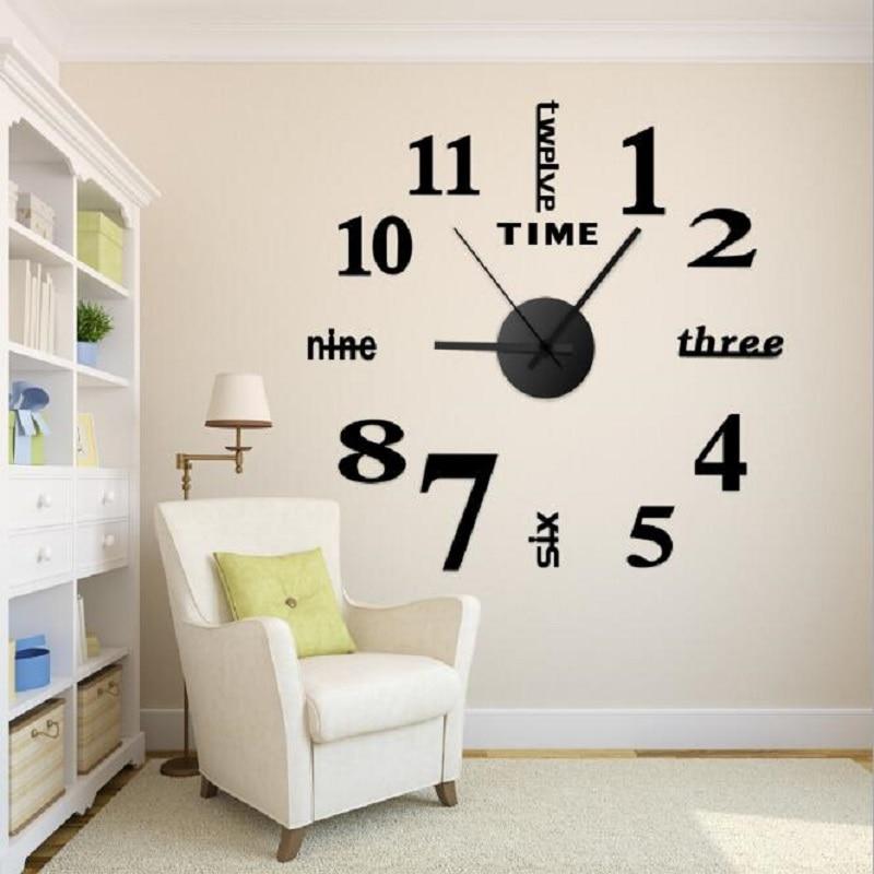 2019 Hot Sale Wall Clock Acrylic Mirror Diy Clocks Personalized Digital Home Decoration Living Room Watches Clocks