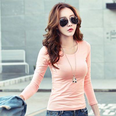 d595854110db5 Basic T Shirt Women Long Sleeve Tops 2018 Spring Autumn Tee Shirt Women  Korean Style T