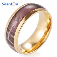 Men S Gold Plated Titanium Brown Woodland Camo Wedding Ring With Polished Finishing Ring For Men