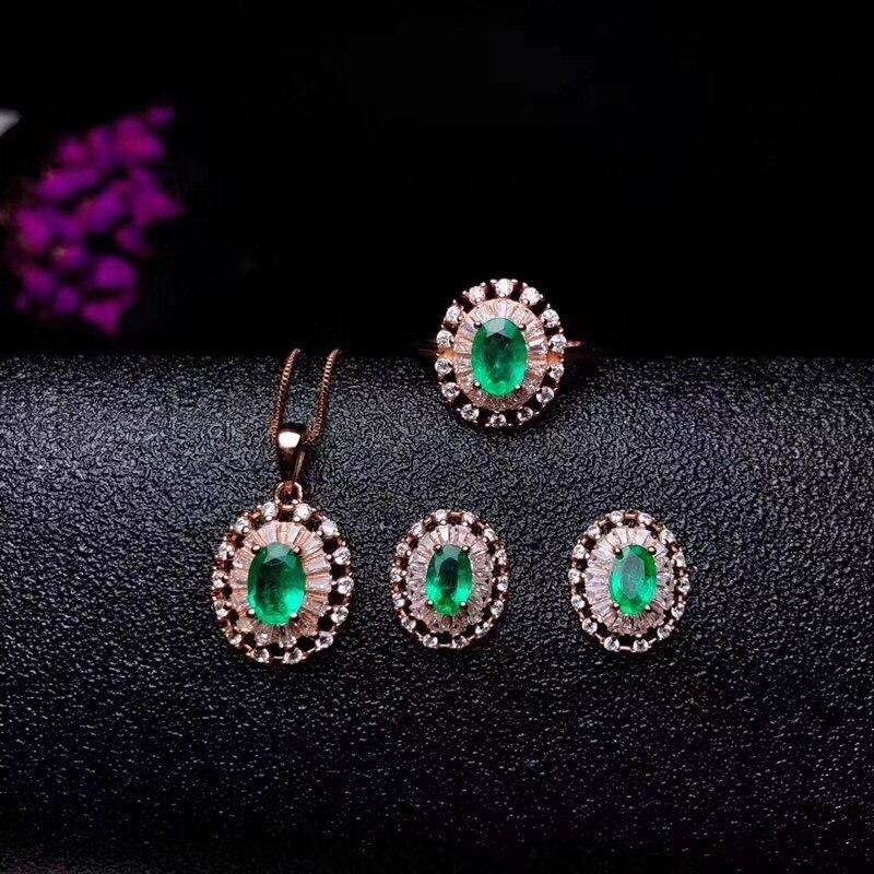Ensemble de bijoux émeraude naturelle et réelle en argent sterling 925 véritable émeraude 1 pendentif croix pc, 1 anneau pc, 2 boucles pièces