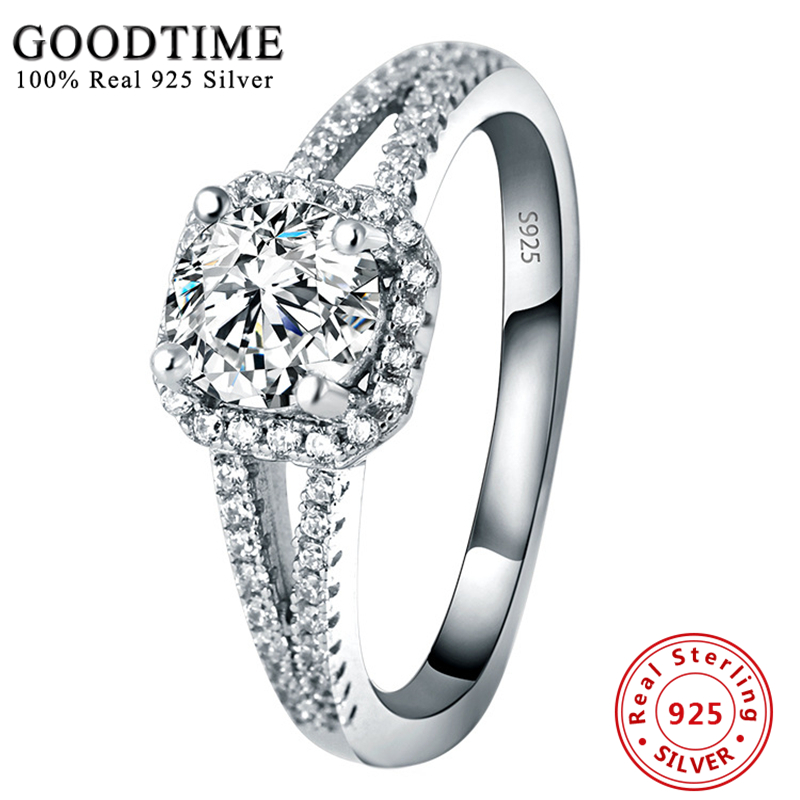 Promotion Silver 925 Jewelry 100% Pure 925 Sterling Silver Engagement Ring Set 2 Carat Zirconia Wedding Rings For Women GTR040