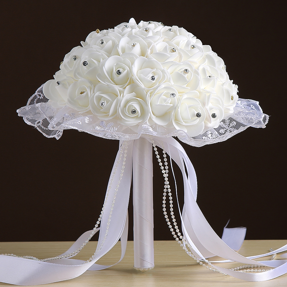 Bridal bouquet 2018 in stock gorgeous handmade flowers white bridal bouquet 2018 in stock gorgeous handmade flowers white bridesmaid artificial rose red wedding bouquets accessories in wedding bouquets from weddings izmirmasajfo