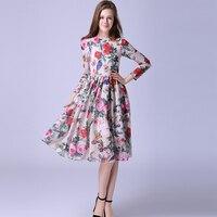 Runway Dress 2016 Summer European New Fashion Women Long Sleeve Rose And Birds Print Elegant Above