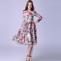 Runway Dress 2016 Summer European New Fashion Women Long Sleeve Rose And Birds Print Elegant Above