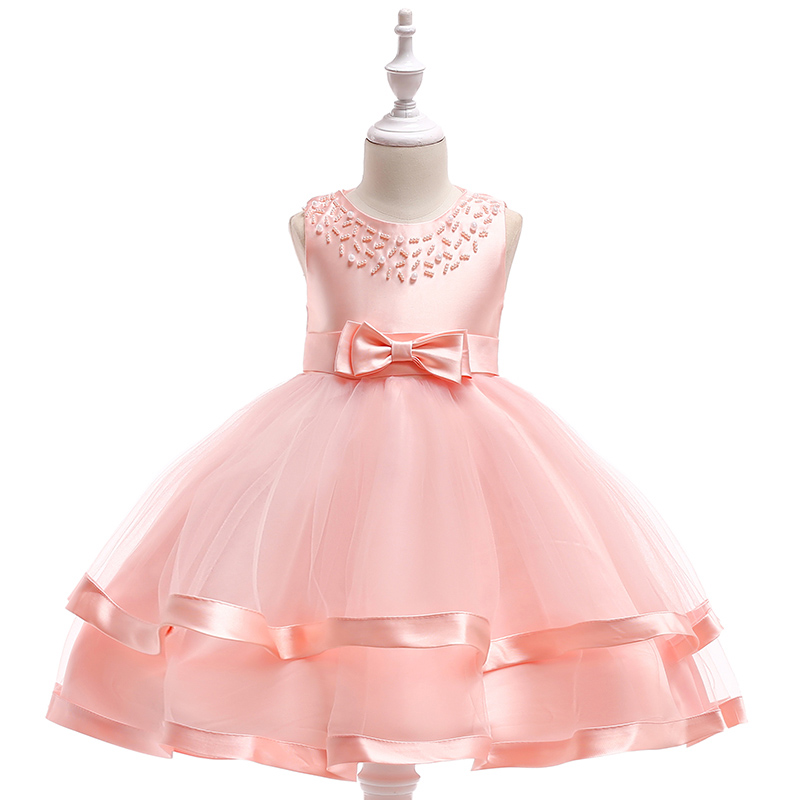 Retail Pearls Neck Cute Kids Clothes For Children Evening Party Prom Dress With Bow Lovely Elegant Girls Wedding Dress L5017 цены онлайн