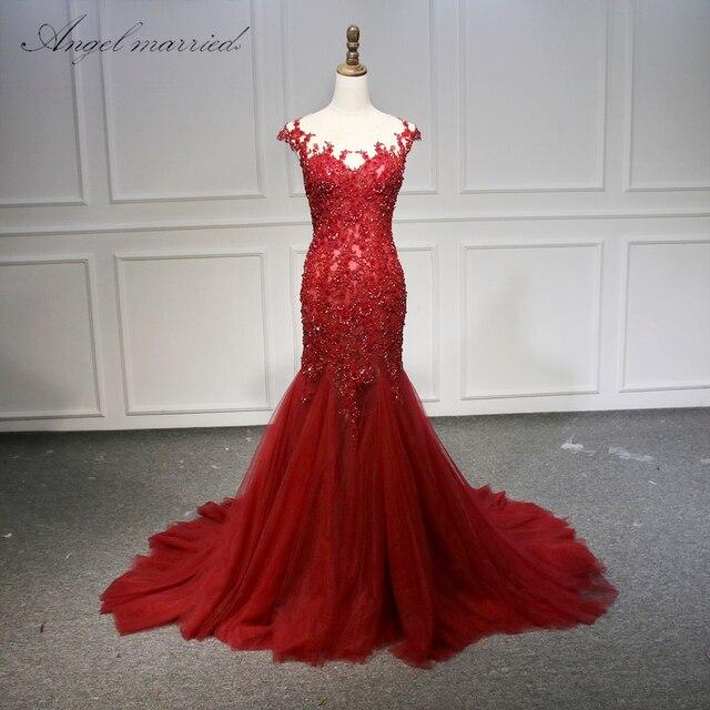 Ange mariée robes de soirée rouge scoop appliques dentelle tulle femmes robe de reconstitution historique 2019 formelle robe de bal de promo robe de festa