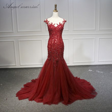 Angel married Evening Dresses red scoop appliques lace tulle women pageant gown 2019 formal prom party dress vestido de festa(China)