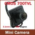 2.1mm cámara Granangular Mini HD 700TVL 1/4 ''CMOS Color de Vídeo de Seguridad CCTV Cámara