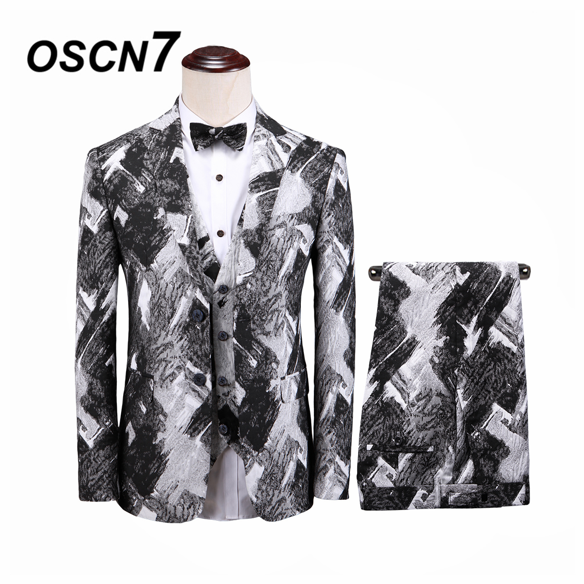 Apprehensive Oscn7 Leisure Slim Fit Grey Print 3 Piece Suits Men 2019 Groom Wedding Suits For Men Fashion Party Three Piece Suit Men T301 Cheapest Price From Our Site