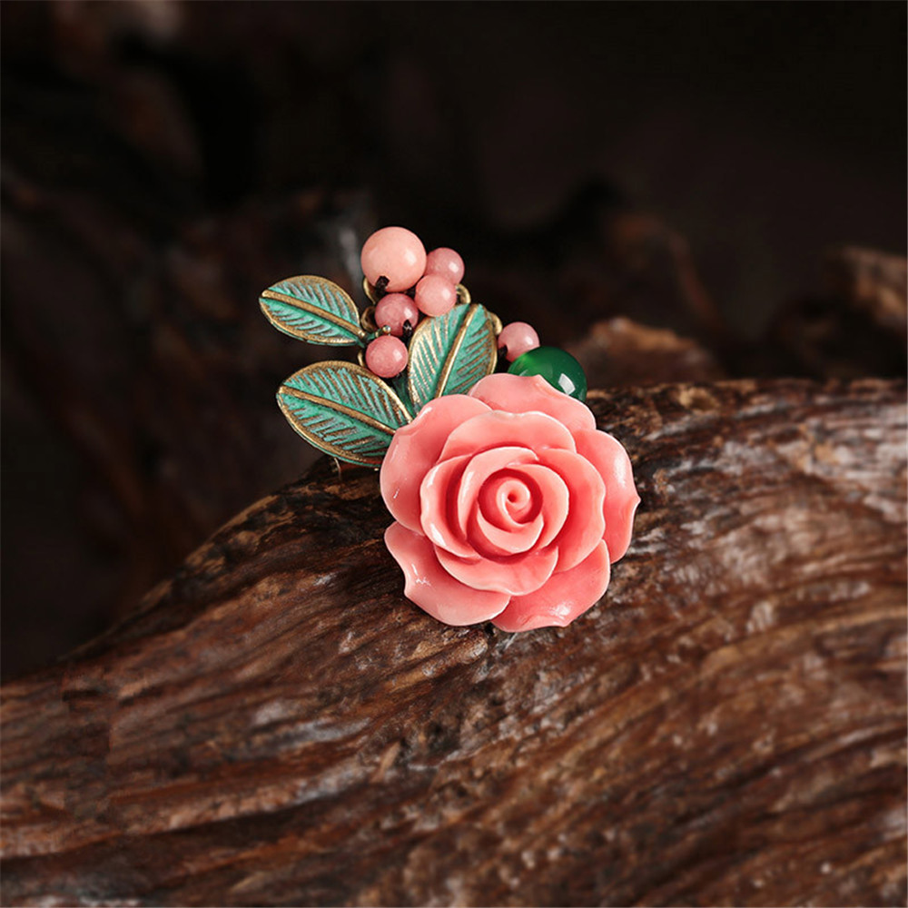 Free shipping Original creation Bronze color alloy inlaid pink deep sea shell artificial carved petals brooch Corsage pins другие 11 11