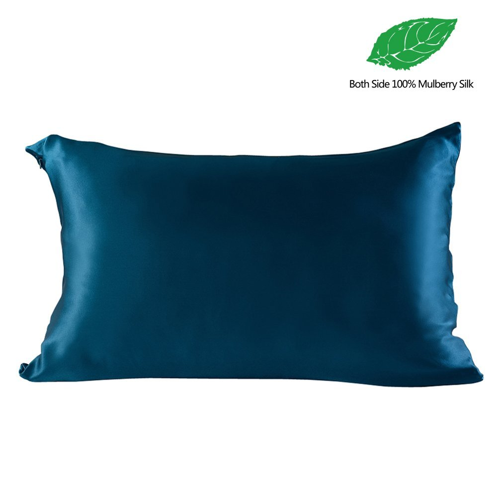 19 Momme 100% Both Side Mulberry Silk Pillowcase for Hair&Facial,Hidden Zipper,Standard(20x29.9 Inch),Royal Blue,1pc