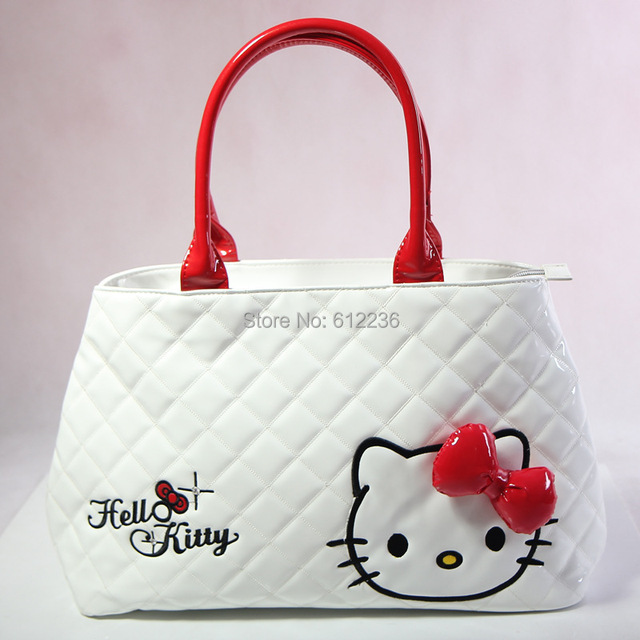 9058965a7 2014 New shoulder bag Hello Kitty Handbags Fashion tote bag cute PU Cartoon  girls Party bags Casual Middle Size Dropship