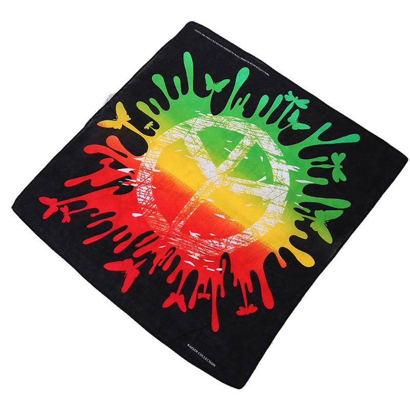 55x55cm Unisex Graffiti Rainbow Colored Square Bandana Peace Symbol Print Sports Hip Hop Headwrap Street Cycling Scarf Wristband in Women 39 s Scarves from Apparel Accessories