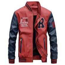 AmberHeard Men Baseball Jacket Casual Embroidery Leather Pu Coats Male Luxury Fleece Pilot Jackets Faux Coat