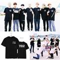 KPOP BTS Bangtan Boys Album JIMIN V SUGA T Shirt 2016 K-POP Classic Black White Cotton Short Sleeve T-shirt
