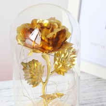 LED Gold Rose In Glass Dome Decorative Flowers Wreaths For Valentine Gift