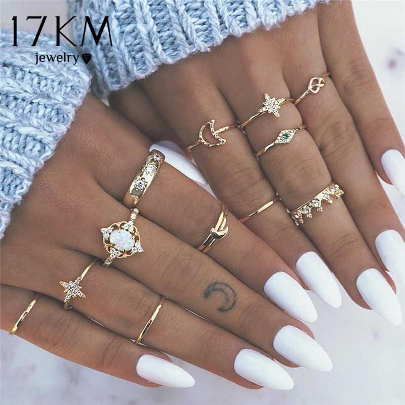 17 км 8 дизайн винтажные золотые звезды лунные Кольца Набор для женщин BOHO Кристалл из опала Midi палец кольцо 2019 женские богемные Ювелирные изделия Подарки