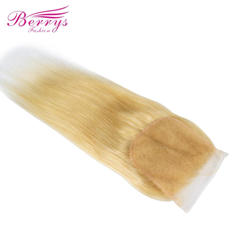 Berrys Fashion Brazilian Blonde Straight Hair 5x5 Lace Closure 100 Human Hair Bleached Knots Natural