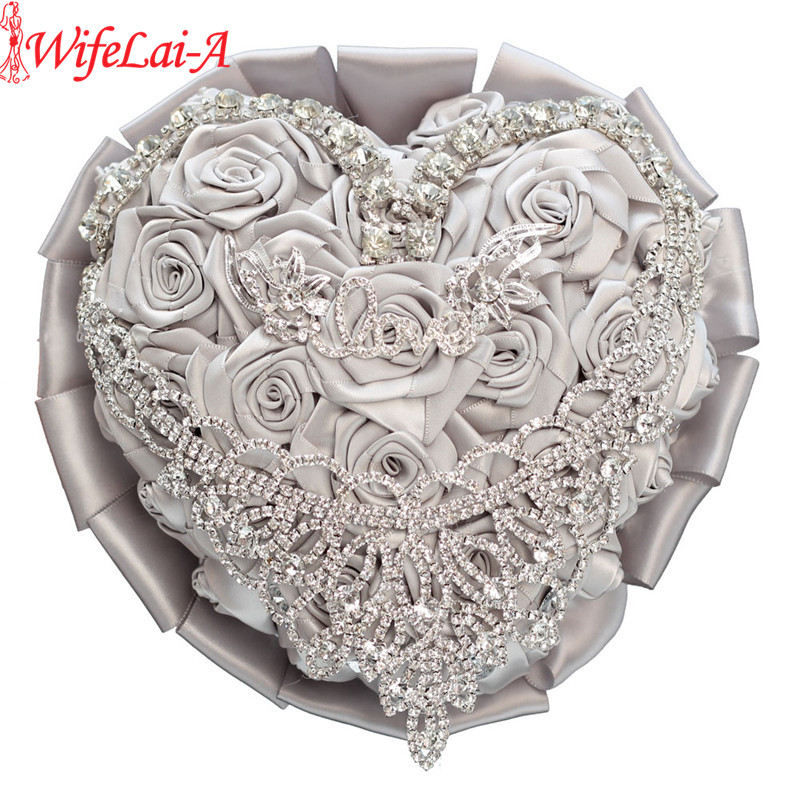 WifeLai A In Stock Heart Shape Bridal Bouquet Love Silver Rhinestone Wedding Flowers Diamond Brooch Bridal