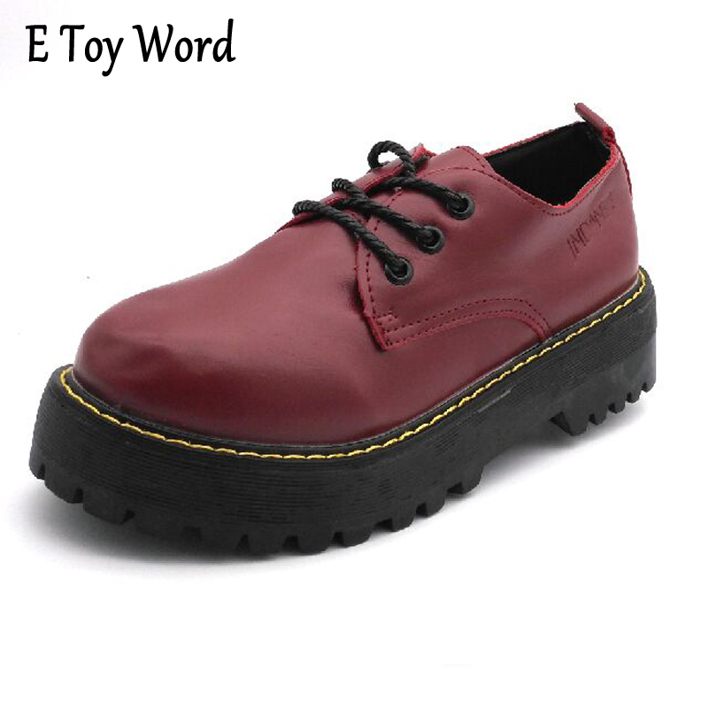 E TOY WORD British Style Women Oxfords Spring Winter Lace-Up Low Heel Round Toe Creepers Casual Ladies Platform Shoes Woman british style men oxfords spring winter lace up flats pointed toe creepers casual men platform high dunk genuine leather shoes