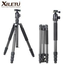 XILETU L334C + J2 fibra De Carbono tripé de câmera monopé luz suporte de fotografia de viagem digital para Nikon Canon