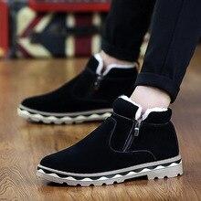 Man British Martin Boots Winter Warm Wool Leather Shoes Mens Waterproof Flat