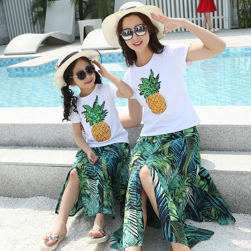 Mother Daughter Clothes Sets Family Matching T-shirts+skirt 2pcs Family Look Matching Clothes Mom And Girls Clothing Cotton 2018 new classical cheongsam children clothes women girls family look matching clothing mother daughter mom