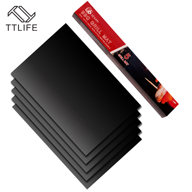 TTLIFE 5 Pcs Non-Stick Surface Heat Resistant BBQ Grill Mats Durable Barbecue Baking Mats Grill Pad Sheets For Outdoor Picnic