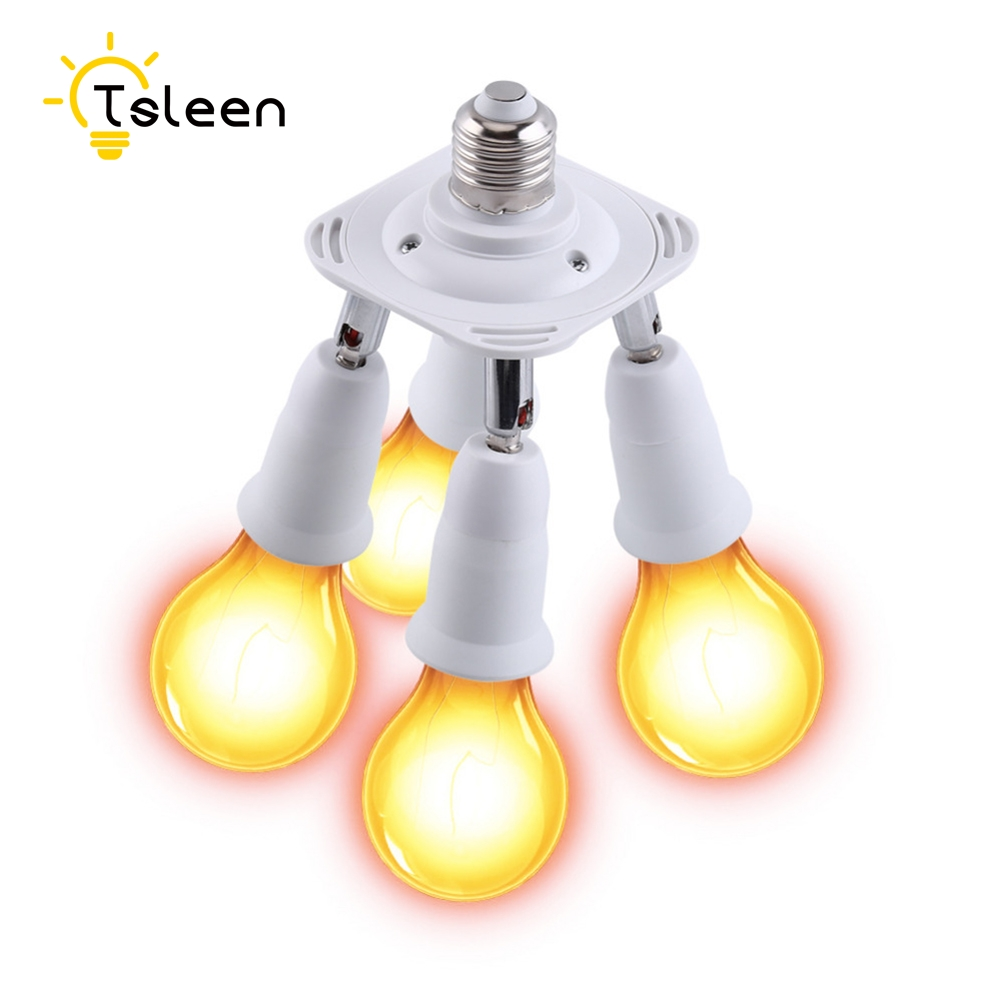 TSLEEN Promotion! US EU Plug PBT PP To E27 White Base LED Light Lamp Holder Bulb Adapter Converter Socket To E27 E14 GU10 B22