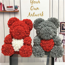 2019 Valentines' Day Gift PE Rose Bear Handmade Artificial Flower Love Bear for Girlfriend Anniversary New Year Gift