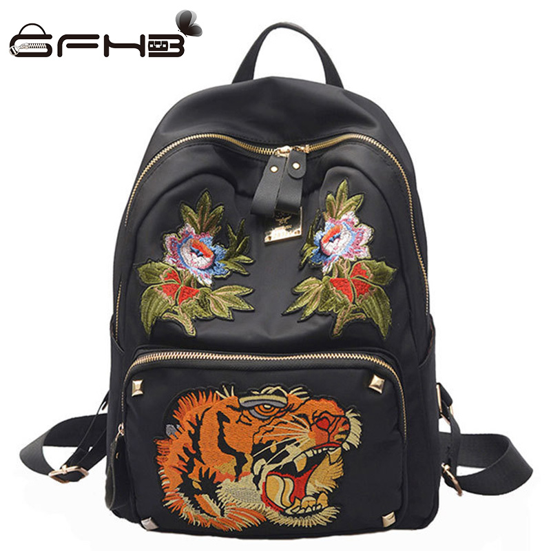 Lucky Tiger Backpacks For Teenage Girls Kanken Backpack Fashion Embroidered Style Oxford Black School Bags Sac