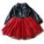O vestido da menina 2-6A vestido de couro vermelho Primavera outono princesa partido tutu véu preto de lantejoulas Diamante padrão bebê malha frete grátis