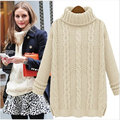 European Loose Turtleneck Solid Women Sweater Pullover 2016 New Winter Knitted Women Sweaters and Pullovers Thick Warm 4 Color