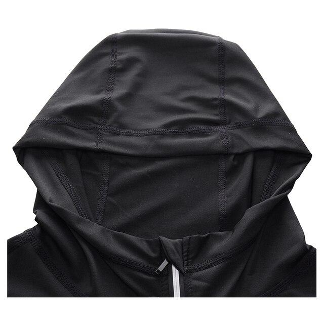 New Rashgard Hooded Sport Shirt Men Long Sleeve Zipper Running T Shirt Men Hoody Compression Shirt Gym Tshirt Fitness Top 4