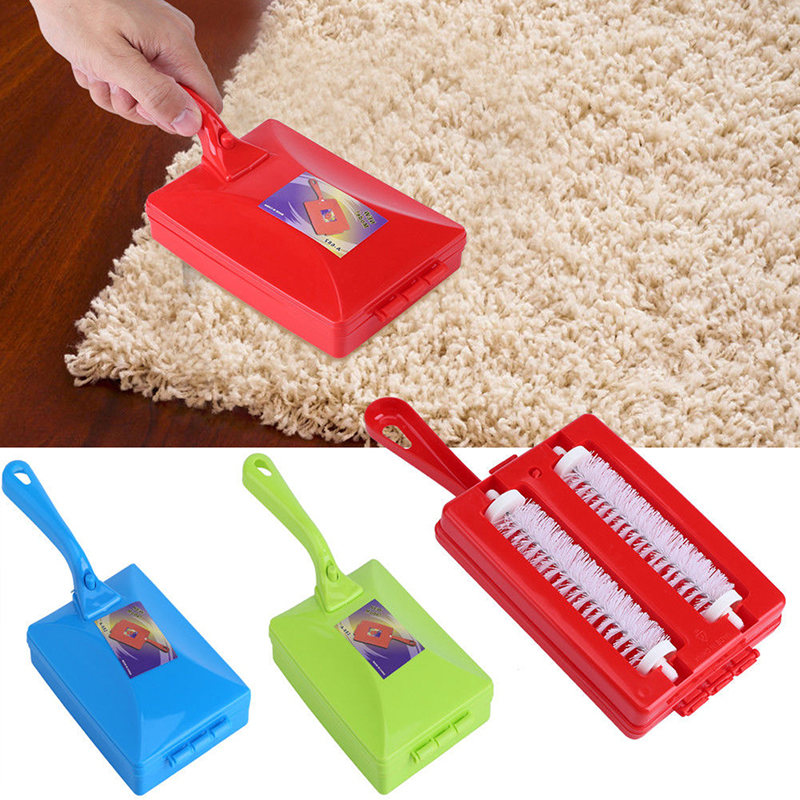 1PC Handheld Carpet Table Crumb Sweeper Plastic Dual Brush Cleaner Collector Roller Home Cleaning Tools Random Color