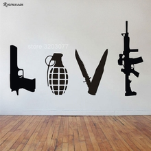 Banksy Wall Art Sticker Love Weapons Combination Gun Knife Bomb Rifle Vinyl Home Decor Living Room Decals Removable Mural GU34