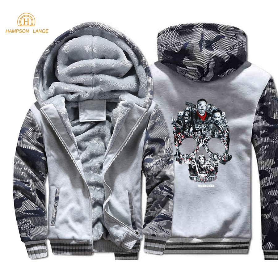 TV Show The Walking Dead Skull Print Punk Style Men Hoodies 2019 Winter Thick Camouflage Hoodie Warm Fleece Hip Hop Men's Jacket