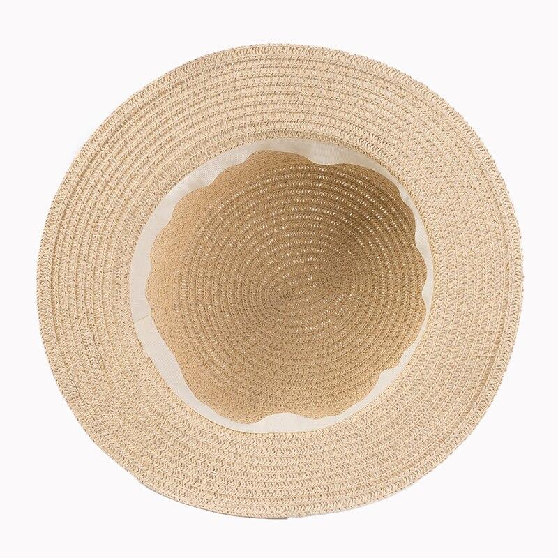c462c95e8bc Sun Caps Ribbon Round Flat Top Straw Beach Hat Panama Summer Hats Women  Snapback
