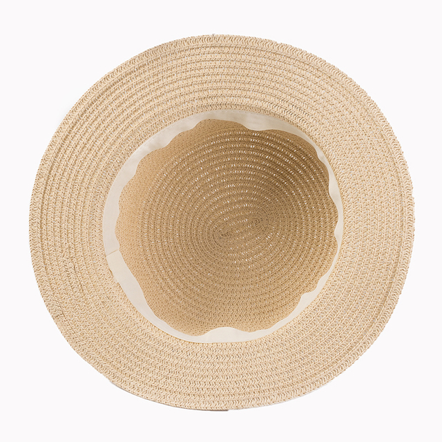 Lady Boater Ribbon Round Flat Top Straw beach hat